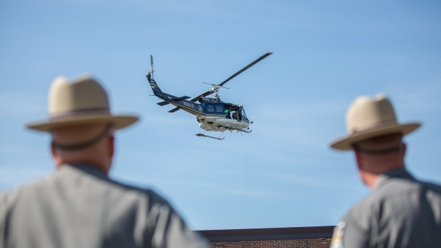 Aviation Unit and SORT give a demonstration at a State Police event.