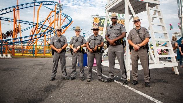 Troopers patrol at the Great New York State Fair.