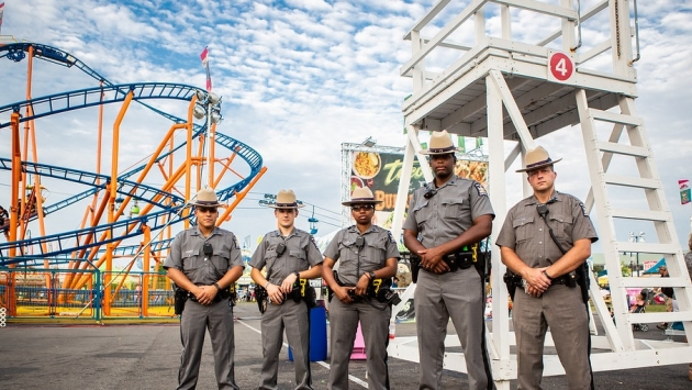Troopers patrol at the Great New York State Fair